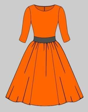 Платье с юбкой-солнце/клеш (с подкладкой)