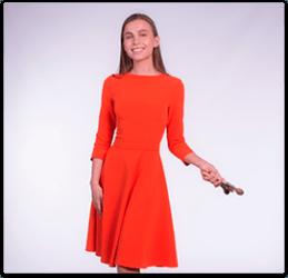 Платье для продавца с юбкой-солнце/клеш